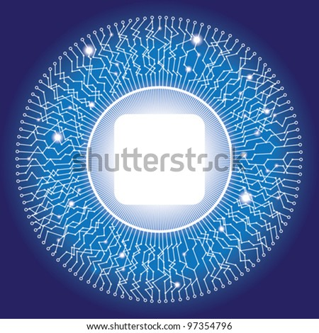 Electronic circular circuit design with copy space in the center - stock vector
