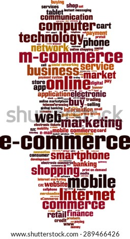 Electronic commerce word cloud concept. Vector illustration