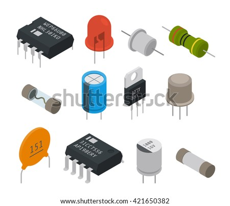Electronic components icons. Isometric vector illustration - stock vector