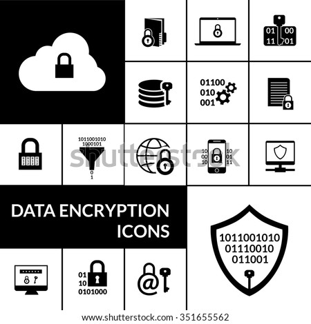 Electronic data transfer security encryption symbols icons composition banner with padlock shield and cloud black abstract vector illustration - stock vector