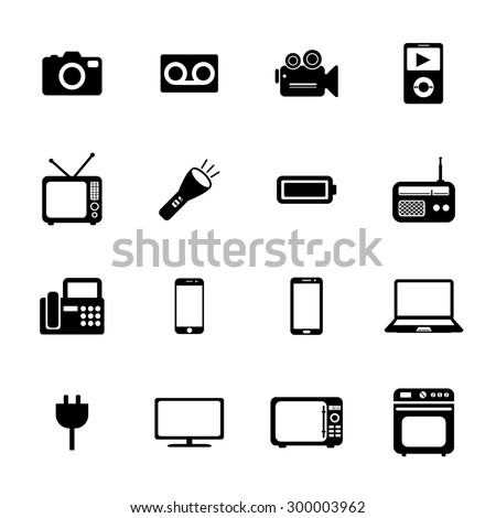 Electronic device icons. Electronic icon. Vector. Silhouette. Black icons.