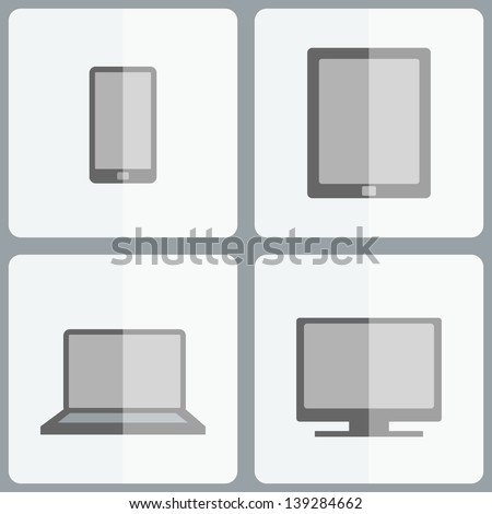 Electronic device icons. Set of electronic device icons in minimalistic style. Flat designed desktop computer, laptop, tablet and mobile phone. Vector illustration EPS 10. - stock vector
