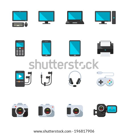 Electronic Devices Icons : Flat Icon Set for Web and Mobile Application