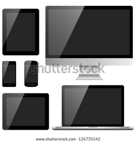 Electronic Devices with Black Screens - Electronic devices with black, shiny screens isolated on white background; desktop computer, laptop, tablet and mobile phones.  Eps10 file with transparency. - stock vector