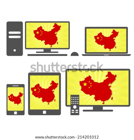 Electronic devices with the map of China. Many device media (tablet, pc, cellphone, laptop, smart tv) with the map and flag of China. - stock vector