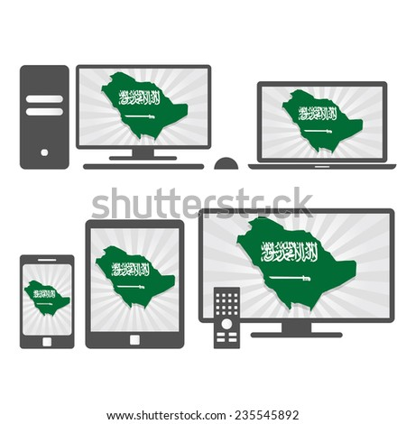 Electronic devices with the map of Saudi Arabia. Many device media (tablet, pc, cellphone, laptop, smart tv) with the map and flag of Saudi Arabia