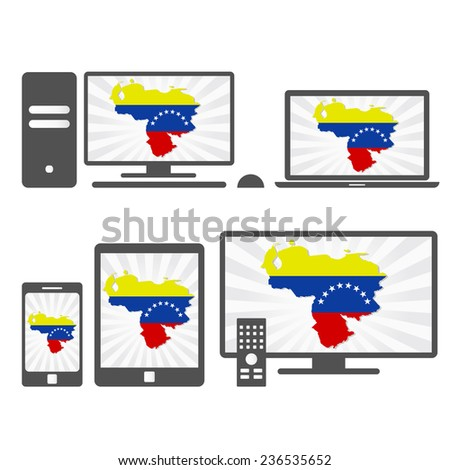 Electronic devices with the map of Venezuela. Many device media (tablet, pc, cellphone, laptop, smart tv) with the map and flag of Venezuela. - stock vector