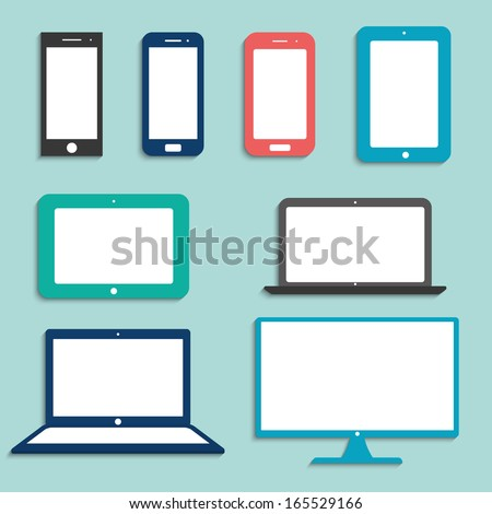 electronic devices with white blank screens in color. smartphones, tablets, computer monitor, notebook. vector eps10 - stock vector