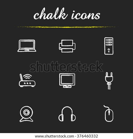 Electronic equipment chalk icons set. Household electronic appliances. Laptop, printer and headphones. Router and system unit. White illustrations on blackboard. Vector chalkboard logo concepts - stock vector