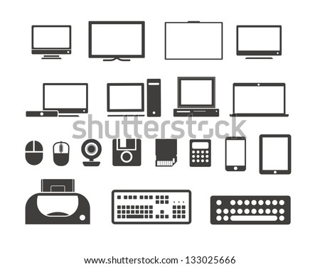 Electronic equipment icons collection. Isolated on white - stock vector