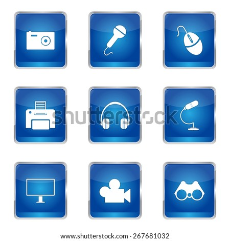 Electronic Equipment Square Vector Blue Icon Design Set