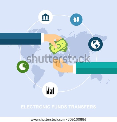 Electronic funds transfers - stock vector