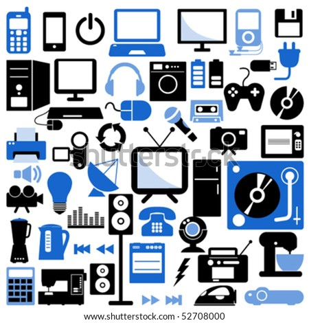 electronic icons - stock vector