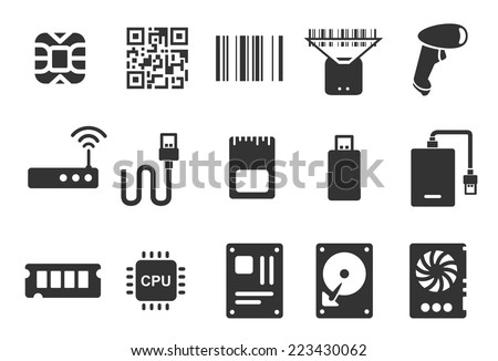 Electronic icons - Illustration - stock vector