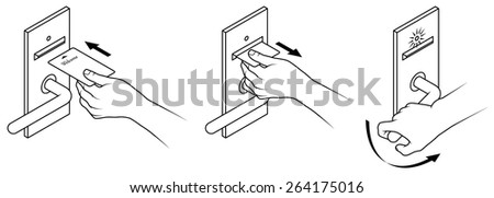 Electronic keycard door opening instructions diagram. Insert and remove card front slot. - stock vector