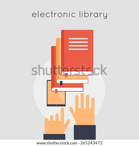 Electronic Library. E-book. Favorite book. Choose a book. Hands and e-book. Vector illustration in flat style.   - stock vector