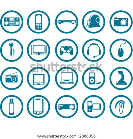 Electronic Multimedia stuff icon set - stock vector