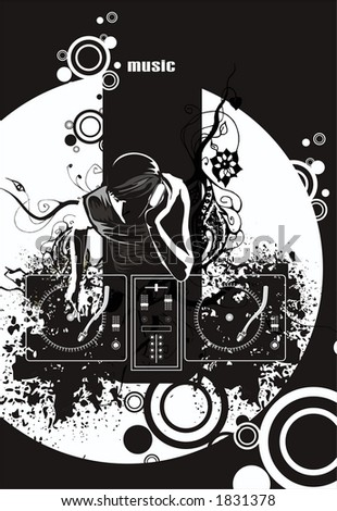 electronic music events,underground party flyer, dj with headphones & two turntable mixing music,grunge& floral elements, black & white vector illustration scalable at any size