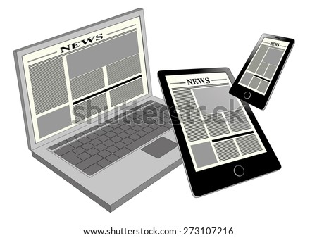 Electronic newspaper viewed in three different portable devices: laptop, tablet pc and smartphone. Cross platform and multimedia equipment - stock vector