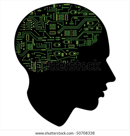 Electronic of the human mind,  Isolated over background and groups, vector ILLUSTRATION - stock vector