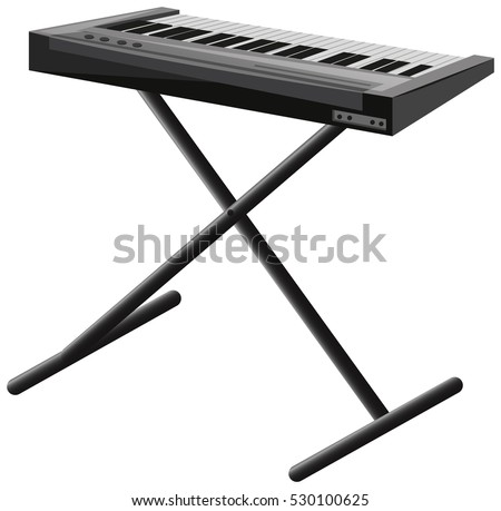 Electronic Piano On Metal Stand Illustration
