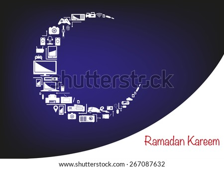 Electronic products forming an Islamic Crescent Moon. Promotional Store Sale layout artwork for Ramadan season. Editable EPS10 vector and jpg illustration. - stock vector