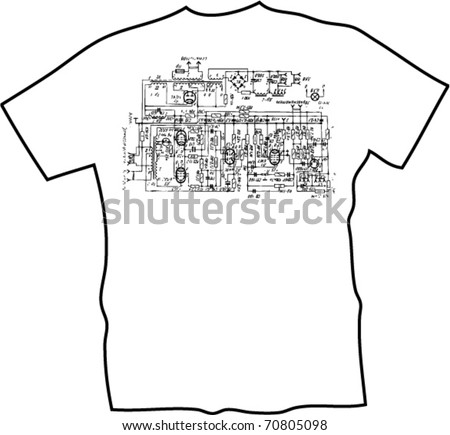 electronic scheme t-shirt - stock vector