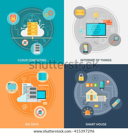 Electronic systems for security and convenience with smart house internet of things big data isolated vector illustration - stock vector