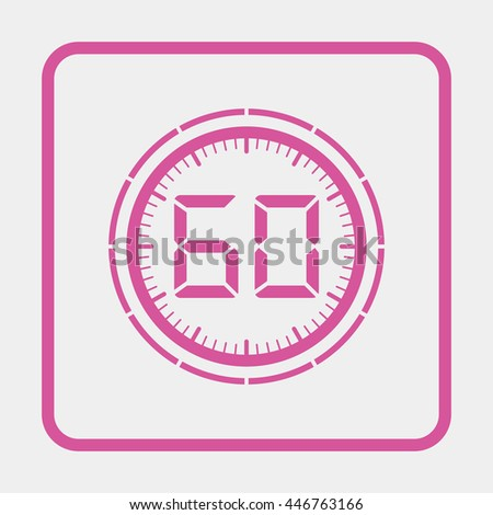 Electronic timer 60 seconds. - stock vector