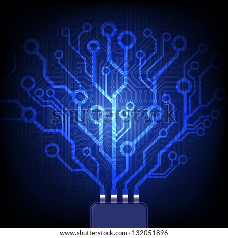 Electronic tree. Vector circuit board background. - stock vector