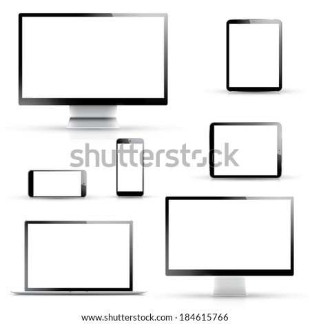 Electronic vector devices, laptop, tablet, smartphone and computer displays isolated on white background - stock vector