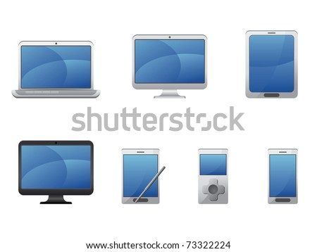 Electronics and computers equipment icons - stock vector
