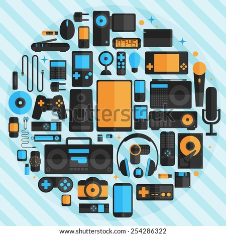Electronics and gadgets icons set - stock vector