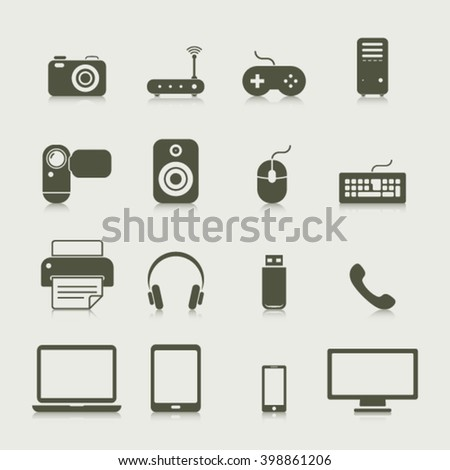 Electronics and Hardware - icons - vector Illustration
