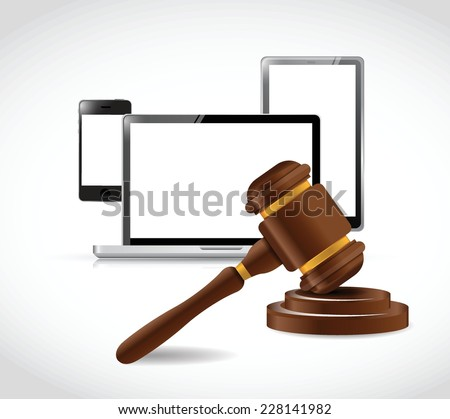 electronics and law hammer illustration design over a white background - stock vector