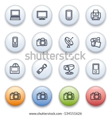 Electronics contour icons on color buttons.