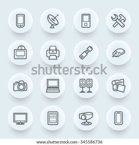 Electronics flat contour icons on blue background.
