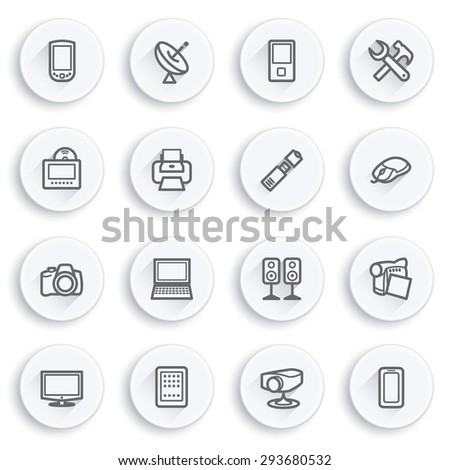 Electronics flat contour icons on white buttons. - stock vector