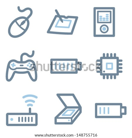 Electronics icons, blue line contour series - stock vector