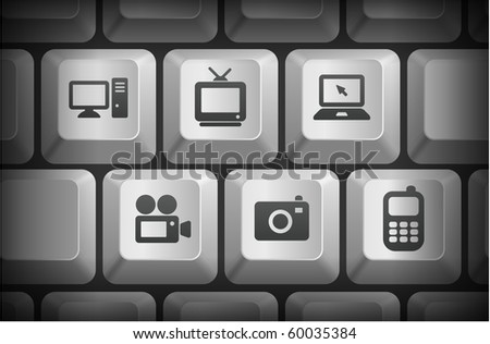 Electronics Icons on Computer Keyboard Buttons Original Illustration - stock vector
