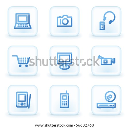 Electronics icons,  square ice buttons