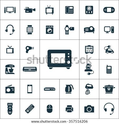 electronics Icons Vector set. electronics Icons Symbol set. electronics Icons Picture set. electronics Icon Image set. electronics Icons Shape set. electronics Icons Sign set icons universal set - stock vector