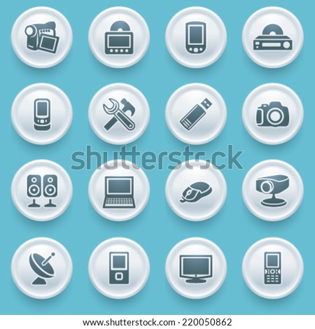 Electronics icons with white buttons on blue background.
