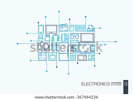 Electronics integrated thin line symbols. Modern linear style vector concept, with connected flat design icons. Abstract background illustration for multimedia shop, household and market concepts - stock vector