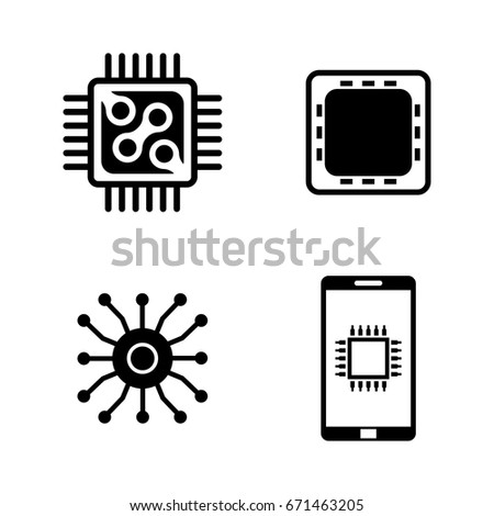 Electronics Simple Related Vector Icons Set Stock Vector 671463205 ...