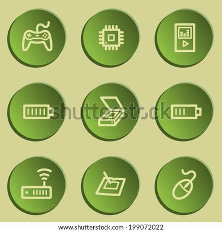 Electronics web icon set 2, green paper stickers set - stock vector