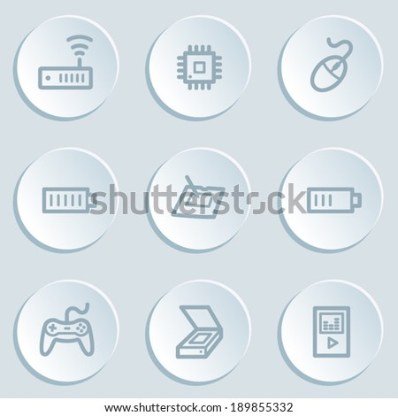 Electronics web icon set 2, white sticker buttons - stock vector