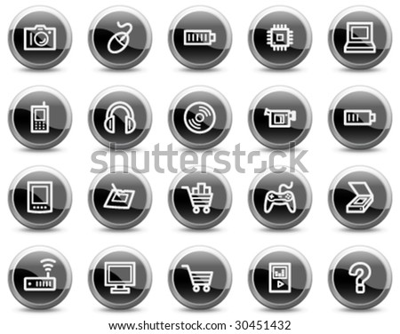 Electronics web icons, black glossy circle buttons series - stock vector