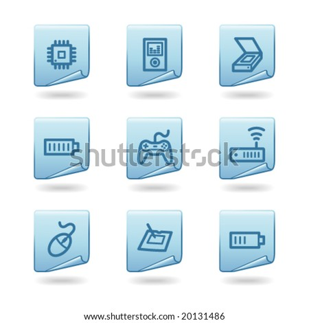 Electronics web icons, blue sticker series - stock vector
