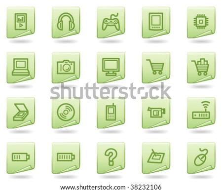 Electronics web icons, green document series - stock vector